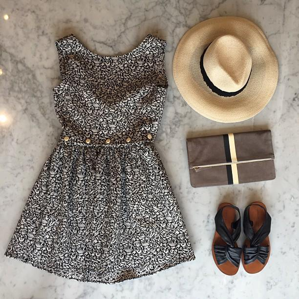 """Grab your coat and get your hat. Leave your worries at the door step. Life can be so sweet on the sunny side of the street!"" Maison Kistuné dress, 10 Crosby Derek Lam sandals, Eugenia Kim hat, Clare V clutch"