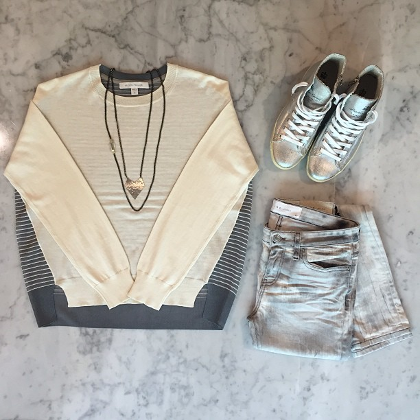 Brochu Walker sheer back sweater, Niris Iro jeans, and Leather Crown silver high tops