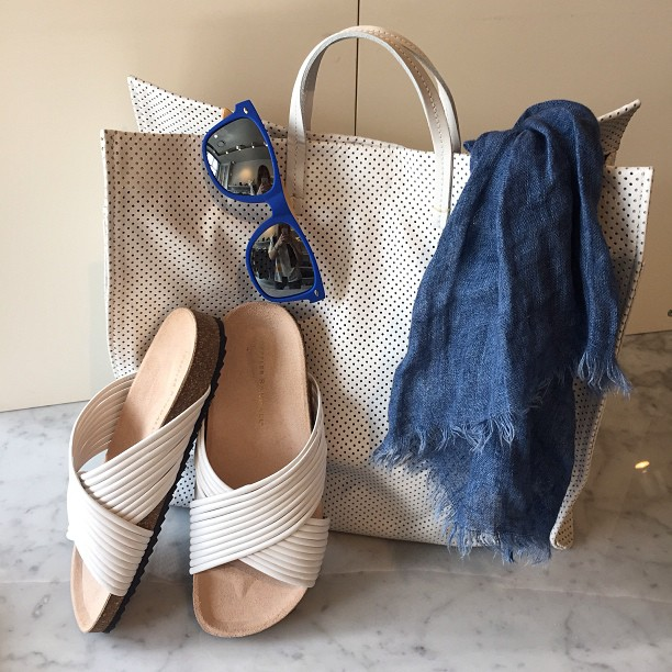 Beach time!   Loeffler Randall   sandals,   Clare Vivier   perforated purse,    Destin        scarf, and   1Love4all   sunglasses