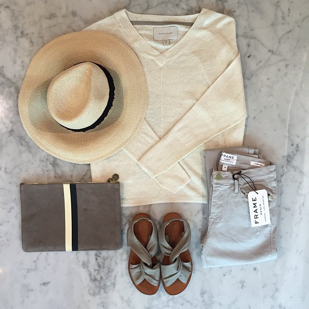 """Love to live so pleasantly, lazing on a sunny afternoon"" in   Frame Denim  ,   10 Crosby by Derek Lam   sandals,   Clare Vivier   clutch,   Eugenia Kim   hat, and   Brochu Walker   sweater!"