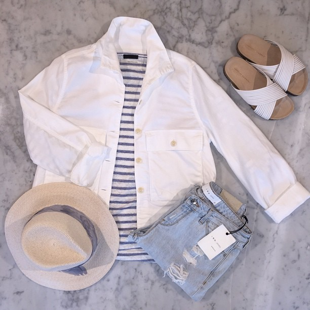 """Don't worry, be happy"" -Bobby McFerrin   The Great   jacket swingy army jacket in white,   Eugenia Kim   fedora,   Iro   jeans,   ATM   long sleeve striped tee, and   Loeffler Randall   sandals."