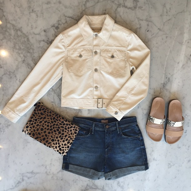 Looking clutch!   Clare V   leopard clutch,   Mother Denim   shorts,   Loeffler Randall   sandals, and   Maison Kitsuné   jacket