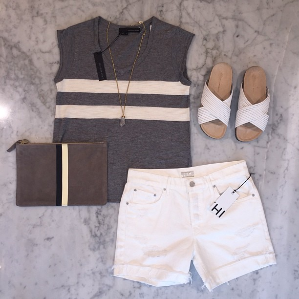 Stripes on stripes!   Clare V   clutch,   360 Sweater   tank,   One Oak by Sara   necklace,   Mother Denim   shorts, and   Loeffler Randal   sandals.