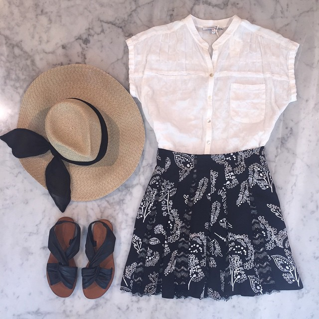 Fun in the sun:   10 Crosby by Derek Lam   sandals,   Thakoon Addition   skirt,   California Tailor   blouse, and   Eugenia Kim   hat