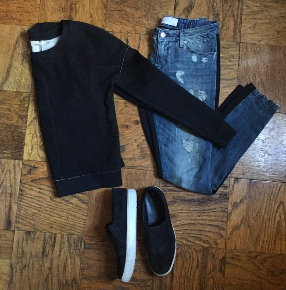 Iro Paris   pant jeans,   J Brand   top, and   Vince   slip-ons!
