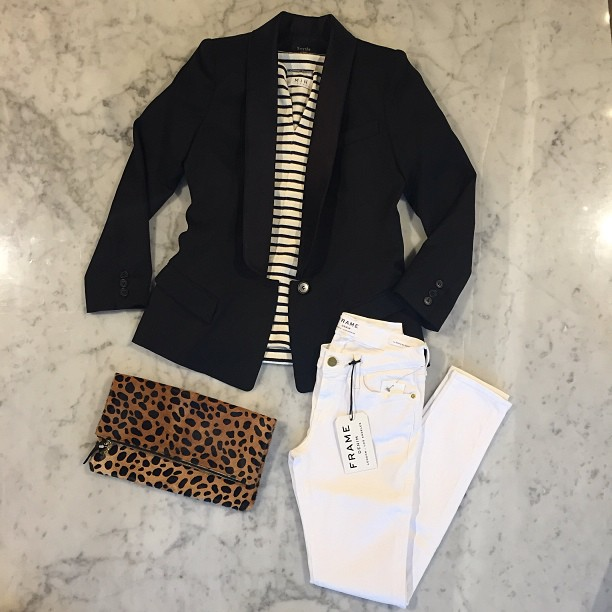 Animal print out of control:   Clare V   clutch,   Frame Denim  ,   MiH   shirt, and   Smythe   blazer