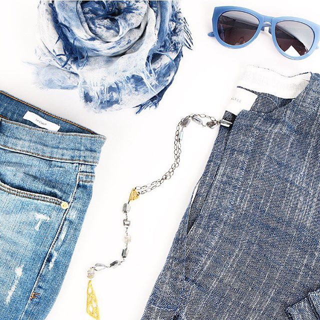 Brochu Walker   Blues -   Mickey Lynn   necklace,   Frame Denim   shorts,   Richiami   scarf, and   Smoke and Mirrors   sunglasses