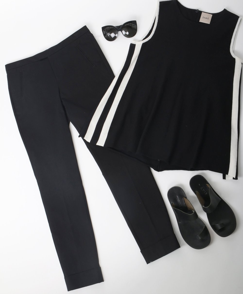 Clean and Classic Black & White:   Akis   Sandals,   ATM   Pants,   (nude)   Top,   Linda Farrow   Sunglasses