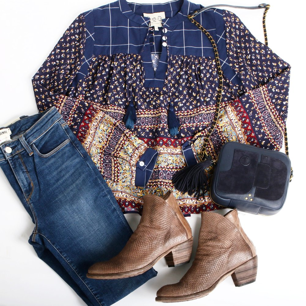 Boho and Beautiful:   Officine Creative   Boots,   L'agence   Jeans,   Jerome Dreyfuss   Bag, and   Sea New York   Top