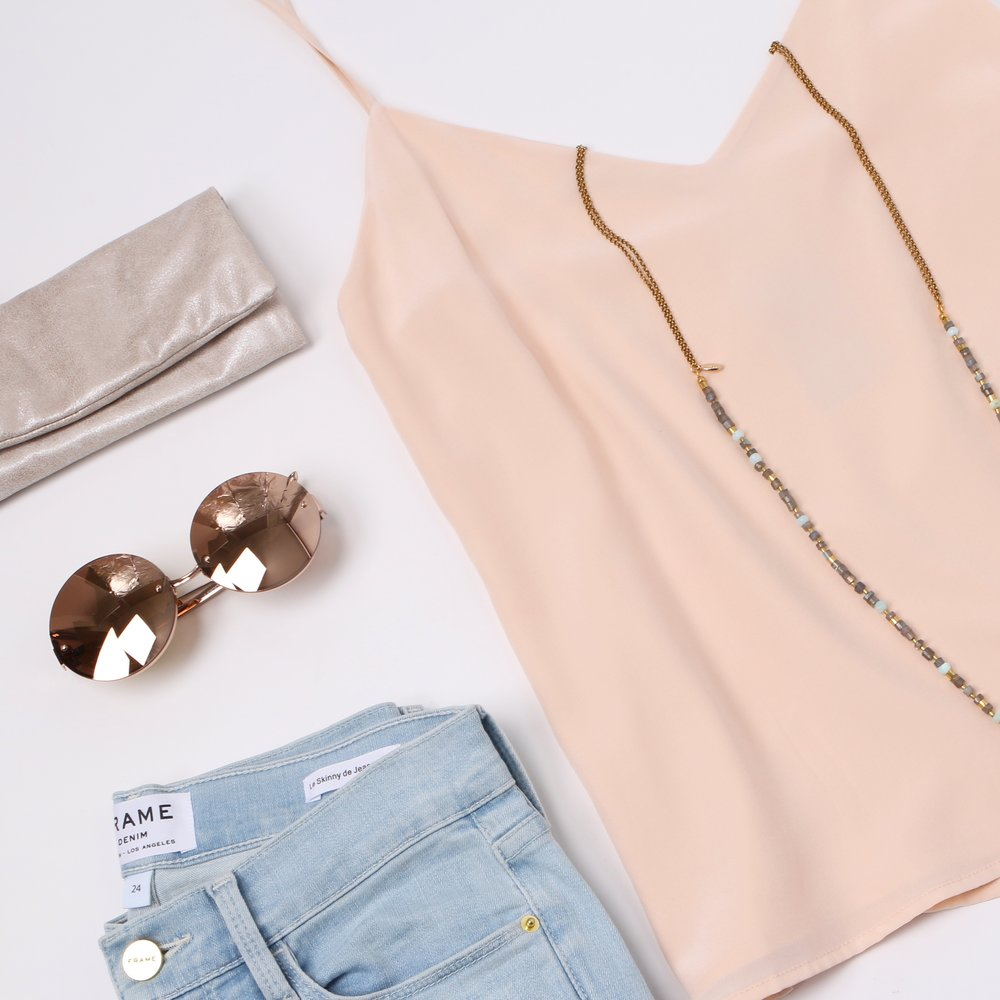 Juuuust PEACHY:   L'agence   Silk Tank,   Frame Denim  ,   Linda Farrow   Sunglasses,   Stitch and Tickle   Wallet, and   Mickey Lynn   Bracelet and Necklace