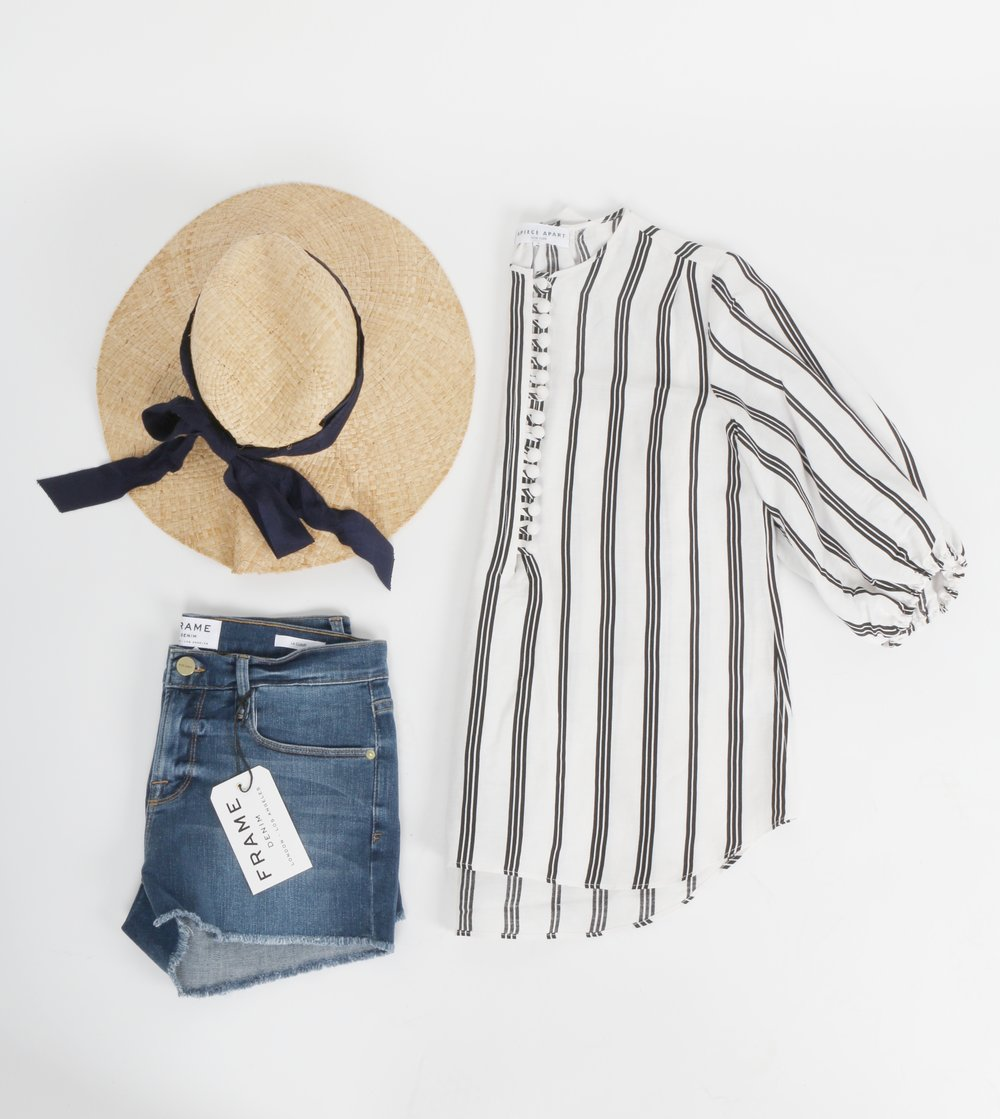 Frame Denim   shorts,   Apiece Apart   top, and   Lola Hat  .