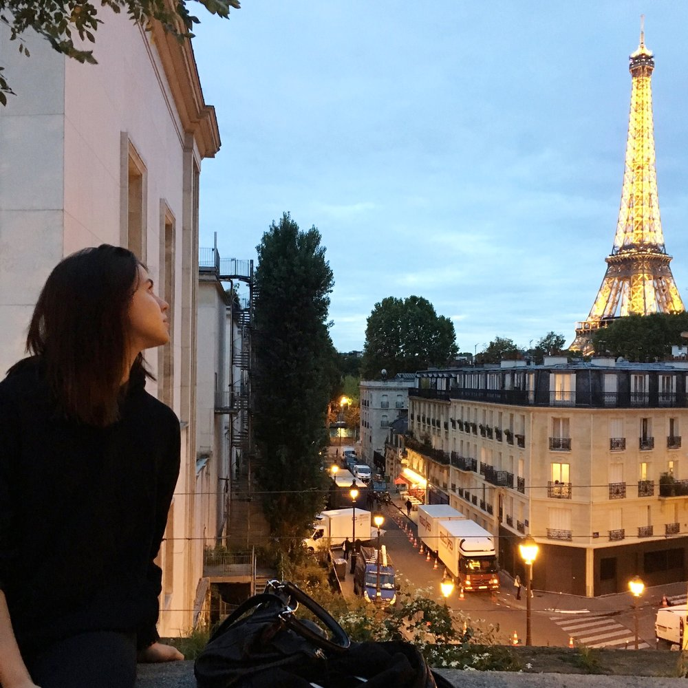 Looking over at the Eiffel Tower in Paris. So stunning. Oh what a view, it was so unforgettable....