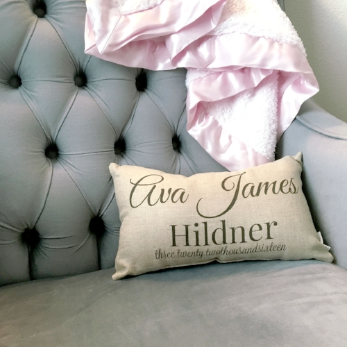 Personalized name pillow from The Decorated Room