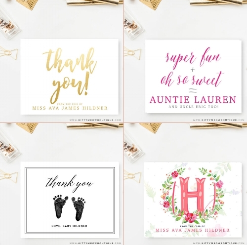 Personalized Stationery for Baby from Kitty Meow: A Creative Boutique