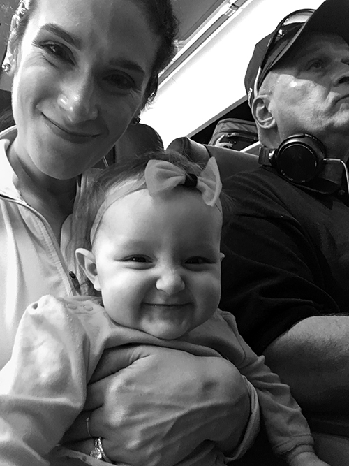 Selfie on the plane with Grandpa by our side!