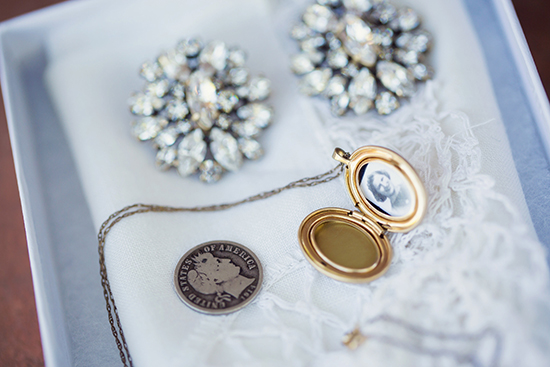 "Something borrowed - earrings from my best friend Shannon that she wore on her wedding day. Something old - a sweet locket with my late Grandma Hartline's picture and handkerchief from my Great Grandma Piccony. And a ""silver sixpence in my shoe"" from my Mother-In- Law, Mama Kimmy."