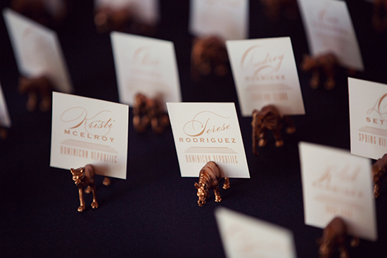 Spray painted gold animals for the escort cards.