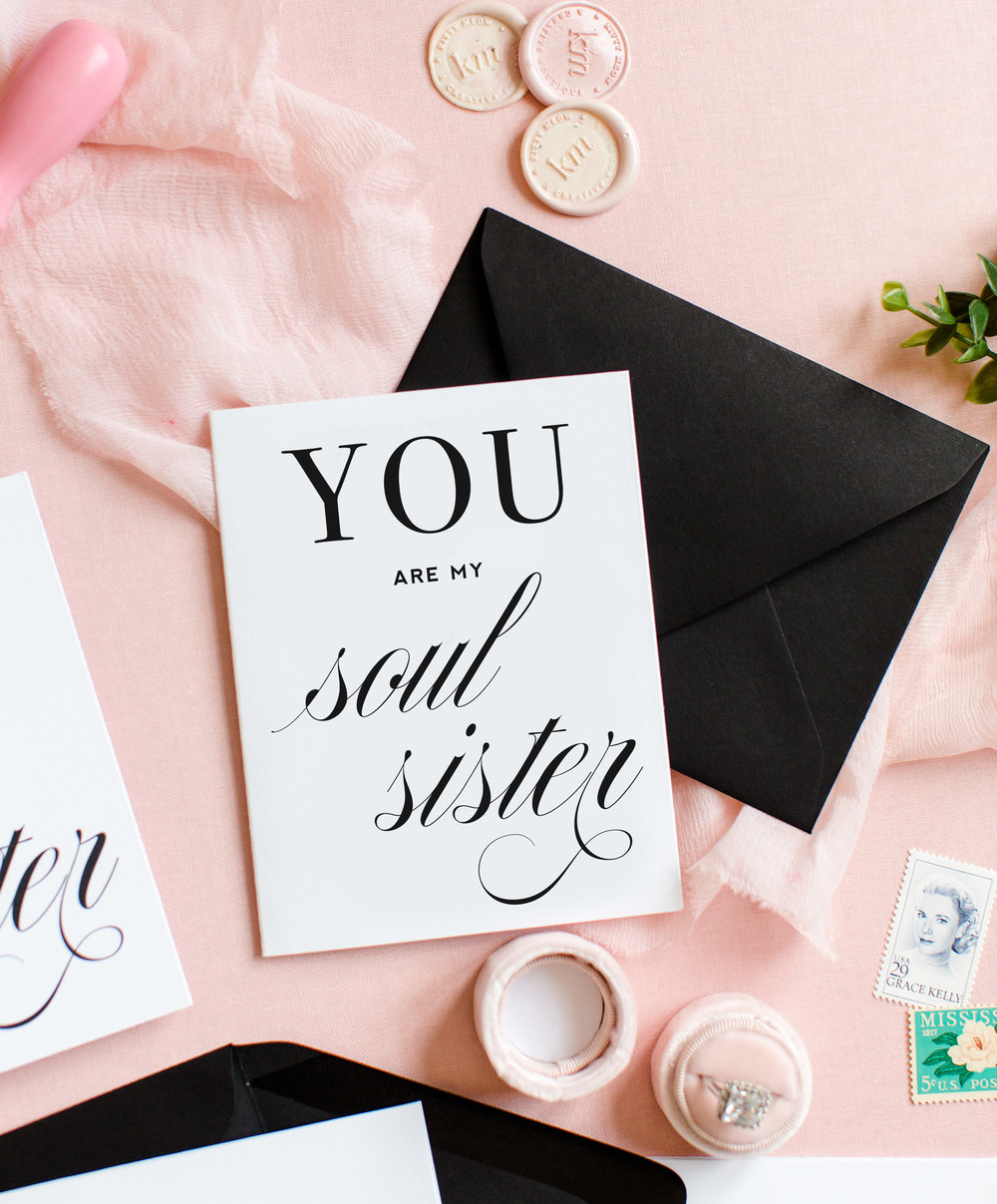 Flatlay of You Are My Soul Sister Inspirational Greeting Card and Friendship Card