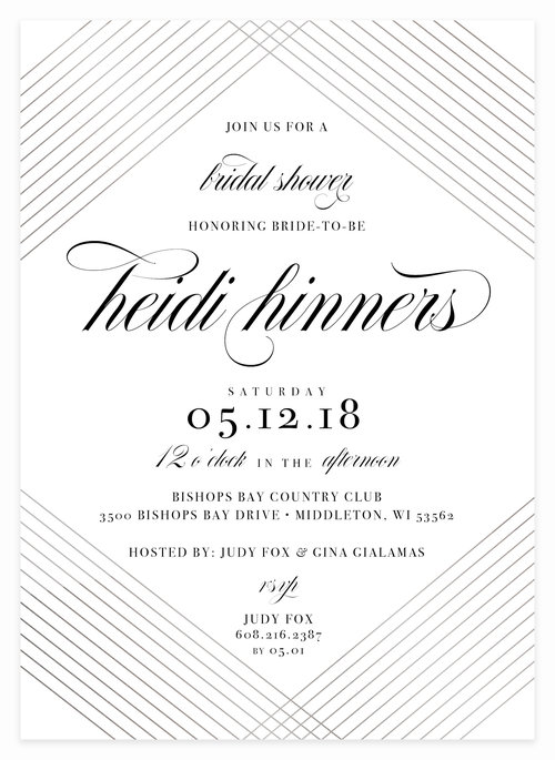 silver foil classic bridal shower invitation for bride to be