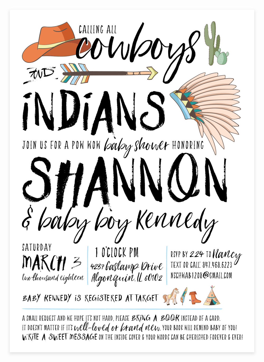 Cowboys & Indians Baby Shower Invitation for Little Baby Boys