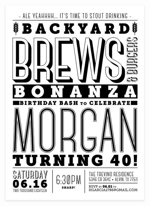 Beer Themed Black And White Birthday Party Invitation
