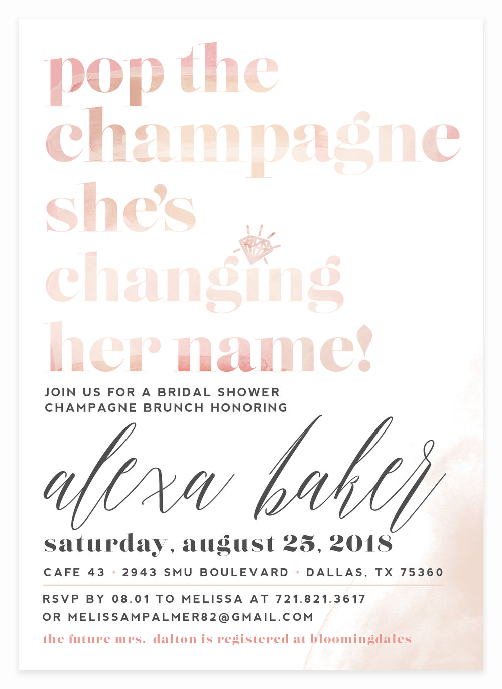 Kitty meow boutique pop the champagne shower invitation for bride to be filmwisefo