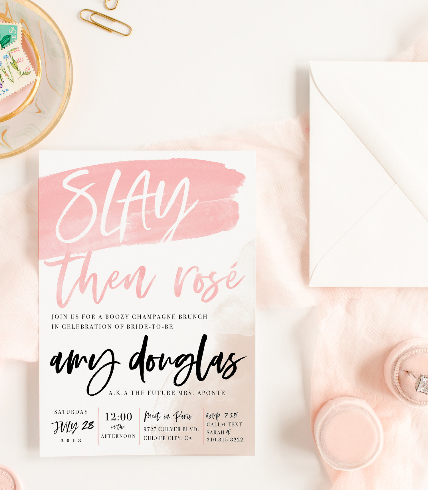 Kitty meow boutique slay then ros champagne bridal shower invitation for bride to be filmwisefo