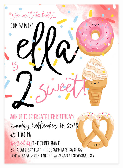 Two Sweet Donut Watercolor Birthday Party Invitation For Little Ladies Bday Girl 1