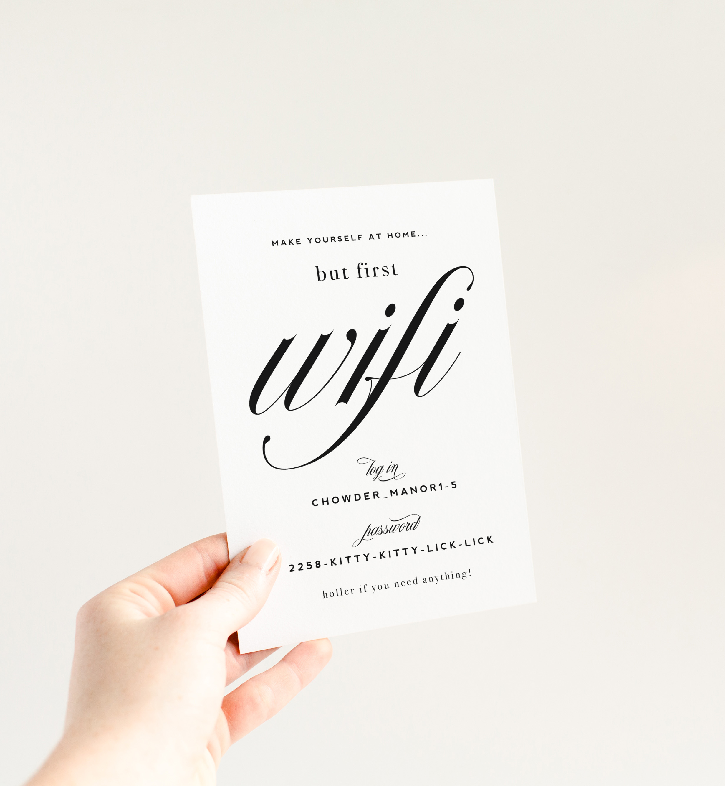 image regarding Wifi Password Sign Printable titled Kitty Meow Boutique Paper Social gathering Solutions, Greeting Playing cards