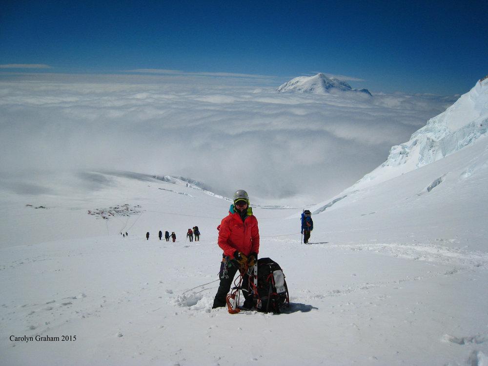 Leigh Ann Wolfe summitting Denali