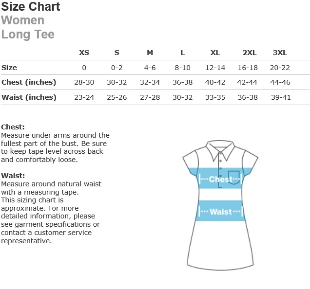 long tee size chart