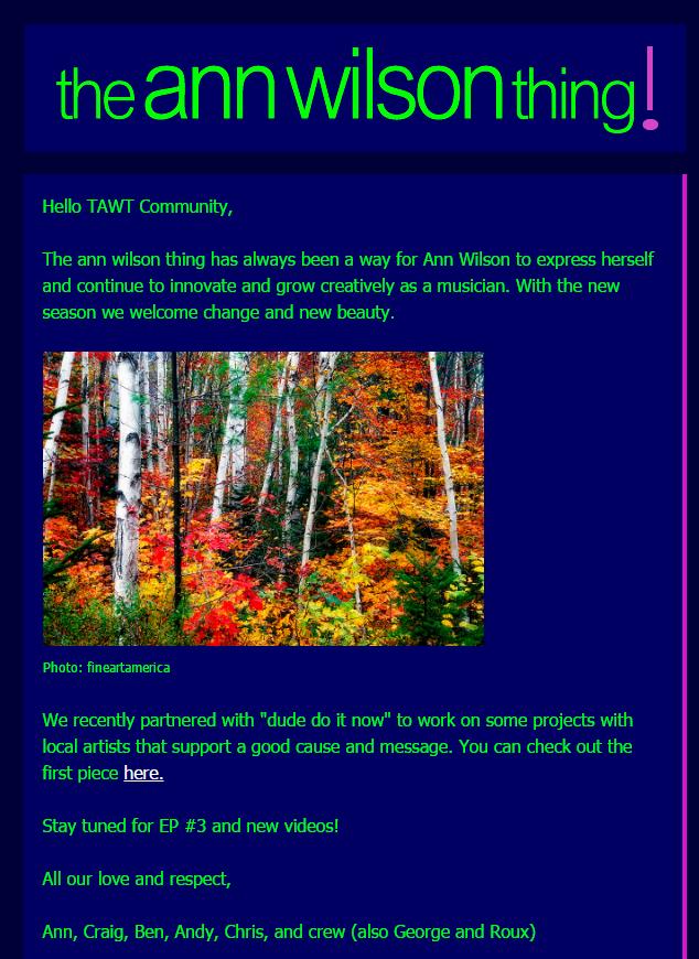 the ann wilson thing newsletter