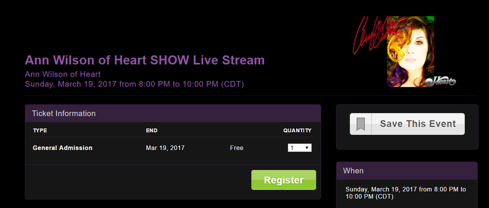 ann wilson of heart live stream