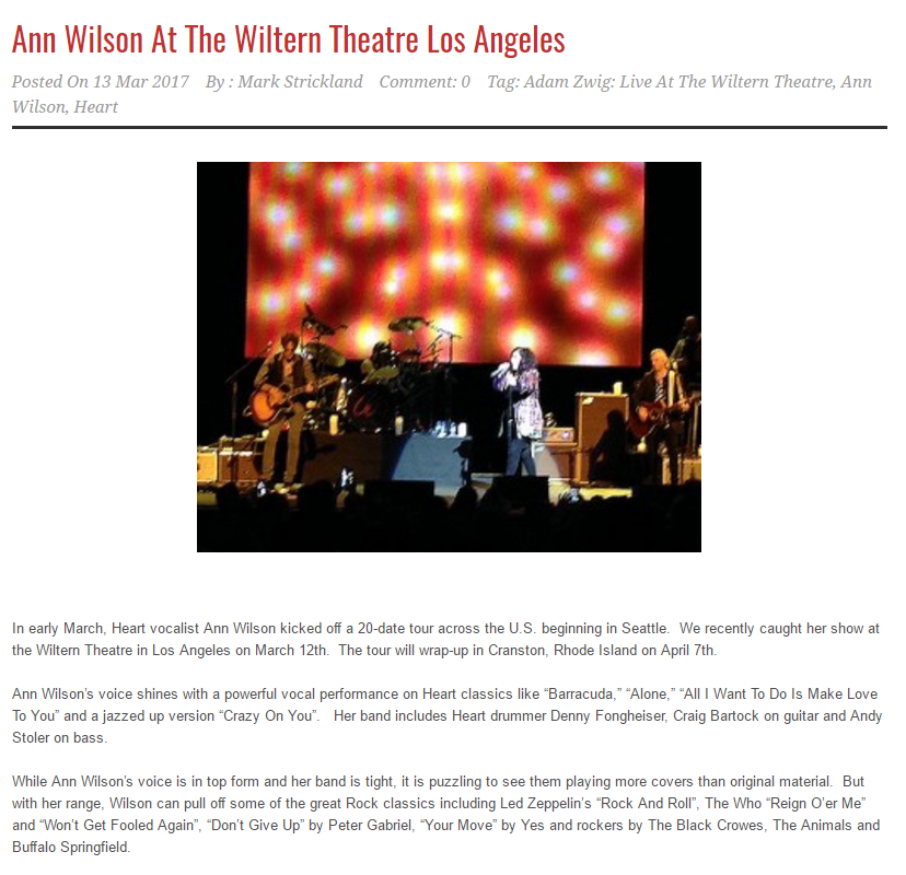 Ann Wilson At The Wiltern Theatre Los Angeles