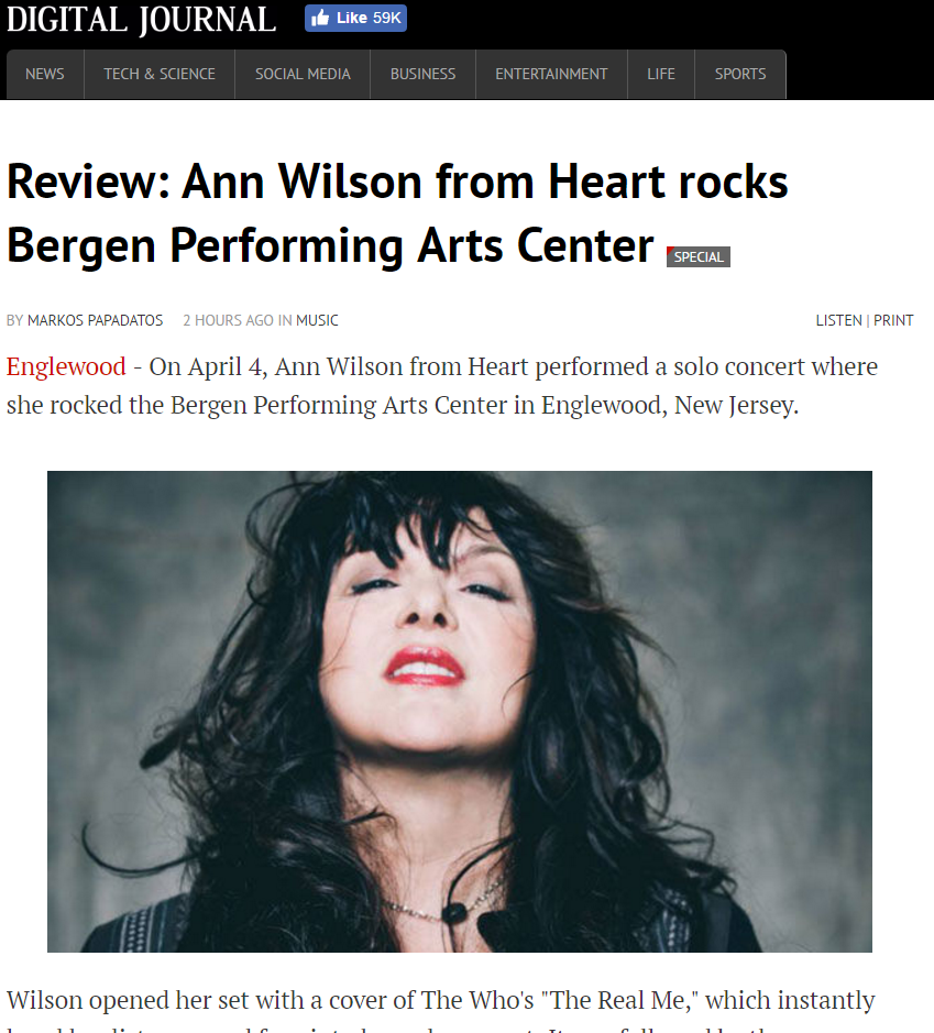 ann wilson of heart review
