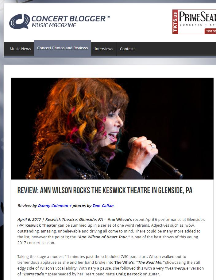 ann wilson concert blogger