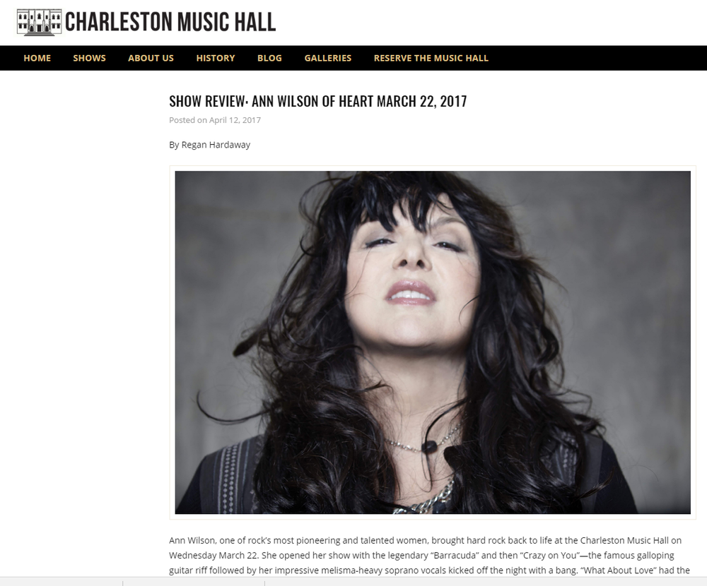 ann wilson review in charleston music hall