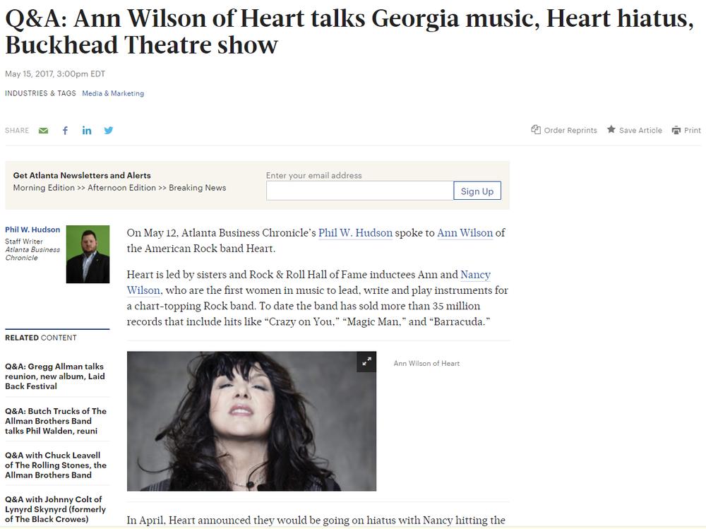 Ann Wilson of Heart talks Georgia music