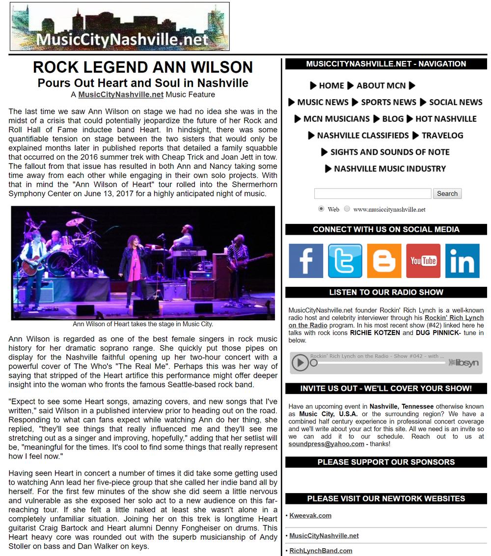 rock legend ann wilson