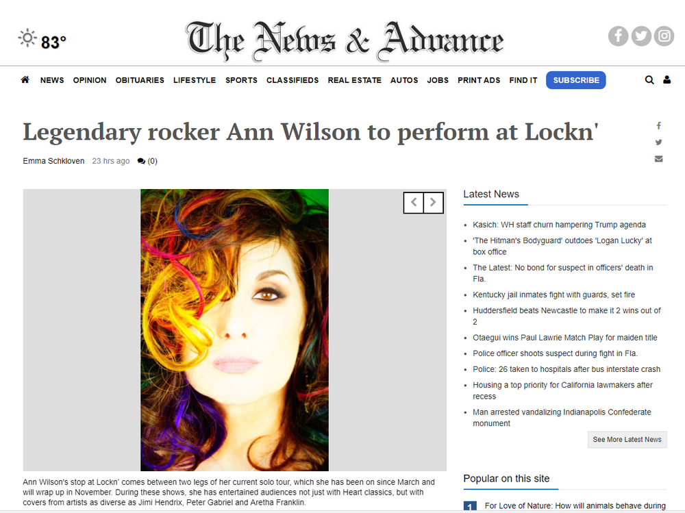 ann wilson to perform at lockin'