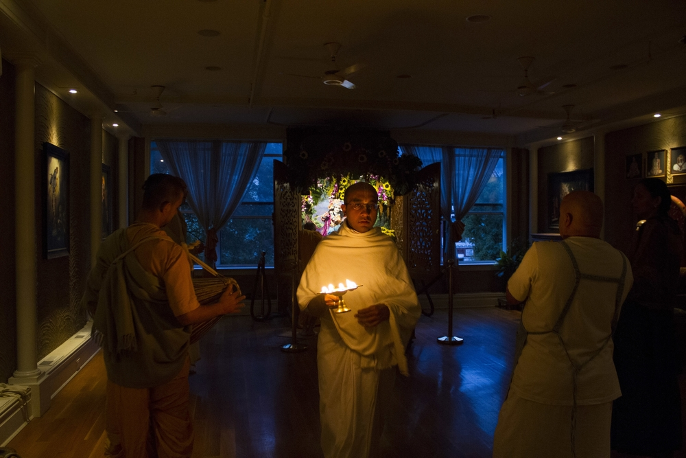A member of New York City's Hare Krishna community during an morning ceremony at the Bhakti Centre in the East Village.