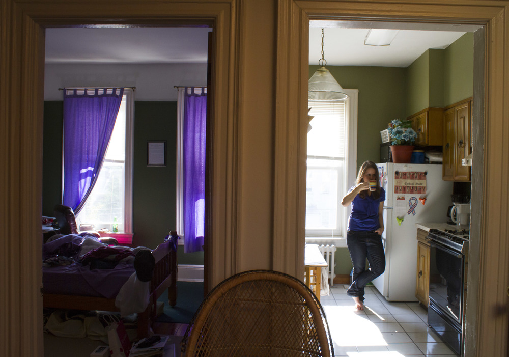 Catholic Minister Melissa McChesney, 24, in the Brooklyn apartment she shares with her sister.