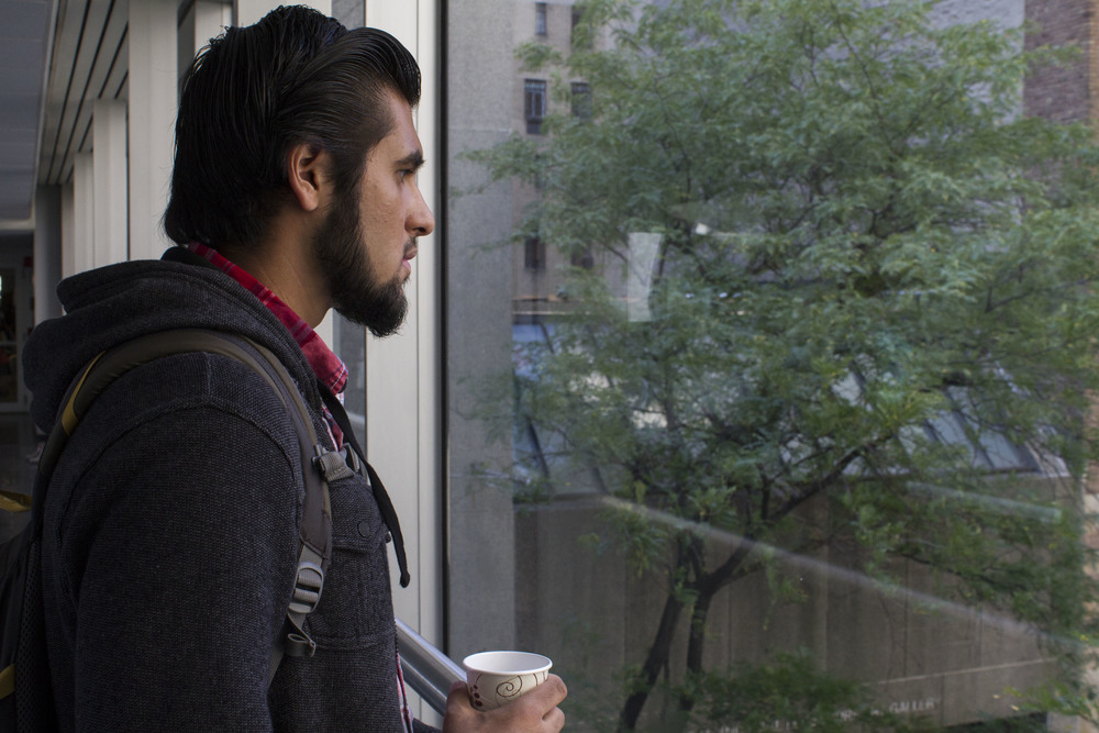 Navel Shah, 19,  at Hunter College in Manhattan, before prayers in the school's designated prayer space.