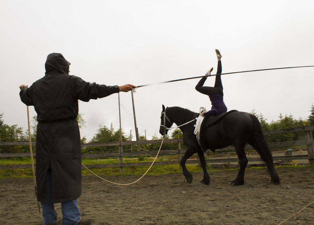 Horse vaulter and dentist Jessica Church practices at a farm in Port McNeill, B.C.   © North Island Gazette.