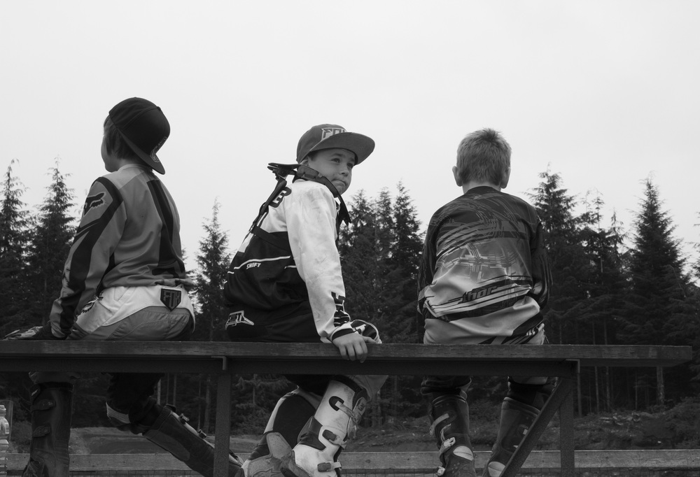 Young motocross racers at a track near Port McNeill, B.C.  © North Island Gazette.