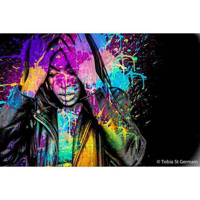 @lexda5_9  #paint #art #popart #rainbow #girl #stress #hands #head #nikon #photoart #photography #edits #photoshop #mextures