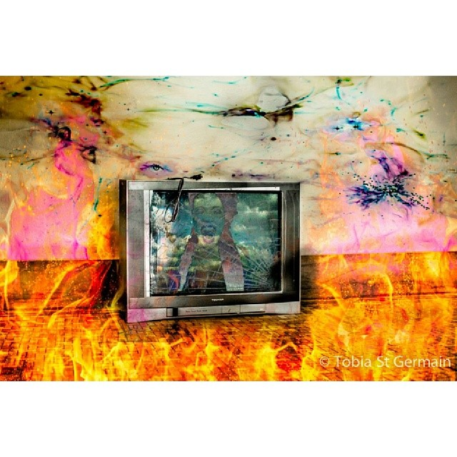 Unclear Words  -When words become unclear, I shall focus with photographs #anseladams  @francesse_  #graphics #fire #clouds #tv #crownheights #brooklynart #nycart #collage #photography
