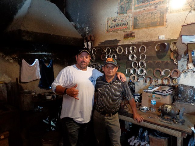 "With my friend the late and  best farrier in Peru ""Pajarito "" RIP mi amigo . We were making shoes at his shop in the Racetrack in Lima."