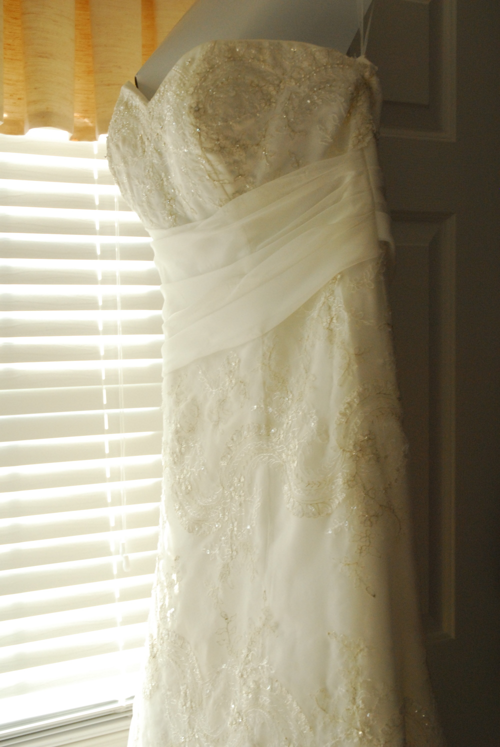 A photo of my wedding gown in 2008. I worked with this wonderful woman who helped to bring my vision to life. It took a lot of trust, but it worked out great!