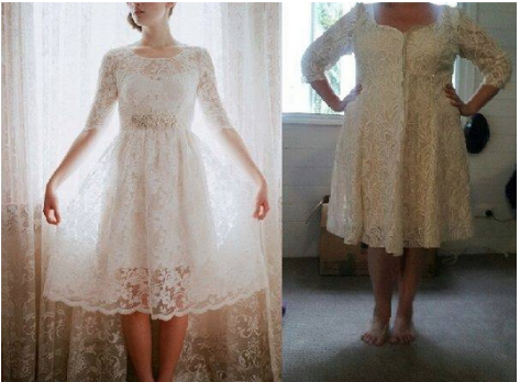 A designer wedding dress vs. a counterfeit version.